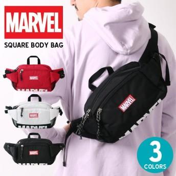 MARVEL ボディバッグ メンズ レディース マーベル ウエストポーチ ウエストバッグ バッグ ミニサイズ コンパクト 黒 ブラック 赤 白 カジュアル