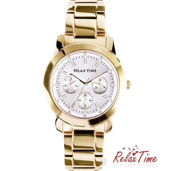 Relax Time 三眼設計 金色腕錶 R0800-16-30