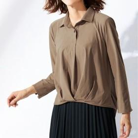 【レディース】 異素材切り替えシャツ - セシール ■カラー:ダークベージュ ■サイズ:M,L,LL