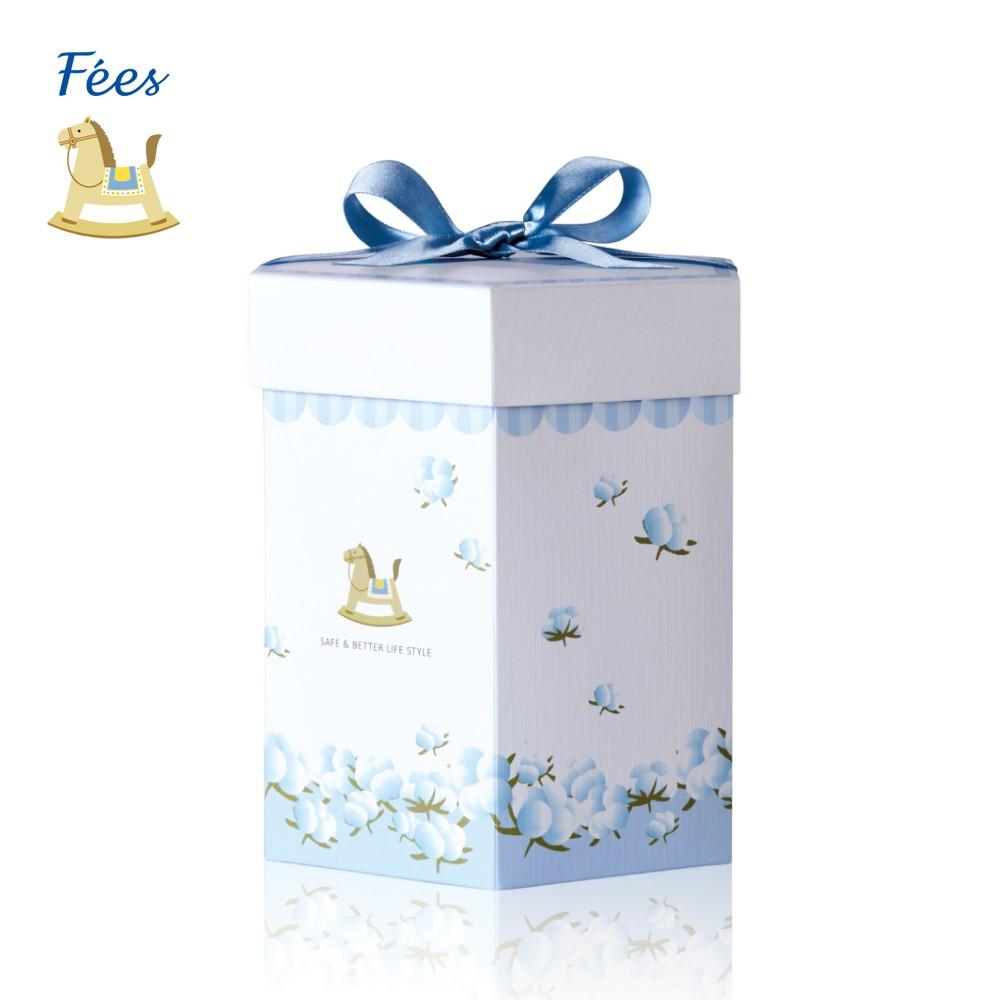 Fees法緻 六角桶裝禮盒(粉色/藍色) 方形經典禮盒(粉色/藍色) 彌月禮盒 專屬禮盒 300ml