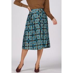Viaggio Blu 【大きいサイズ】タイルプリントフレアスカート その他 スカート,ブルー