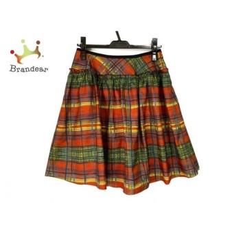 ロイスクレヨン Lois CRAYON スカート サイズM レディース レッド×グリーン×マルチ チェック柄   スペシャル特価 20200108