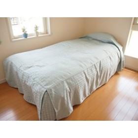 ベッドスプレッド(ベッドカバー) シングル サイズ:110×220×45cm (ピピン(ブルー))ボックスタイプ/