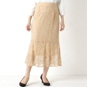 華やかレース切替裾フレアスカート ベージュ M