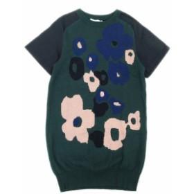 【中古】未使用品 サカイラック sacai luck 袖切替 総柄 ニット ワンピース セーター コットン 3 緑 紺 ネイビー