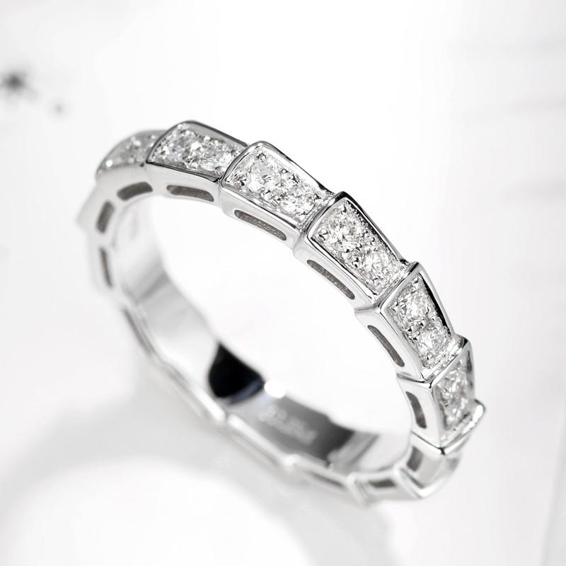 【巧品珠寶】18K滿鑽蛇型排鑽戒