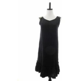 【中古】イエナ IENA la robe habillee ワンピース ひざ丈 ノースリーブ ビジュー 黒 ブラック /CK レディース