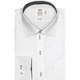 ブリックハウス ワイシャツ 長袖 形態安定 ワイド 綿100% スリム メンズ BM019500AA11W4A-90 シロ M-80