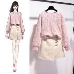 セーター Aラインスカート 2点セット 秋新品 レディース 3色あり スカートスーツ 柔らかめ 暖かい無地 シンプルなデザイン 大人っぽい