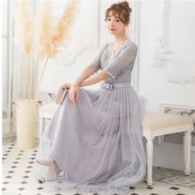 韓国 レディース 韓国 ファッション レディース服 パーティードレス 結婚式 レース お呼ばれドレス 二次会 花嫁ロング 半袖 ワンピースド