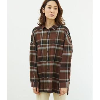 ロペピクニック/起毛チェックゆるシャツ/ダークブラウン/38