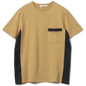 (ビームスライツ)BEAMS LIGHTS/Tシャツ チェック パネル切り替え Tシャツ (日本製) メンズ BEIGE XL