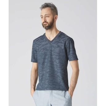 【30%OFF】 アバハウス サーマルカモフラジャガードVネックTシャツ メンズ ネイビー 44 【ABAHOUSE】 【セール開催中】