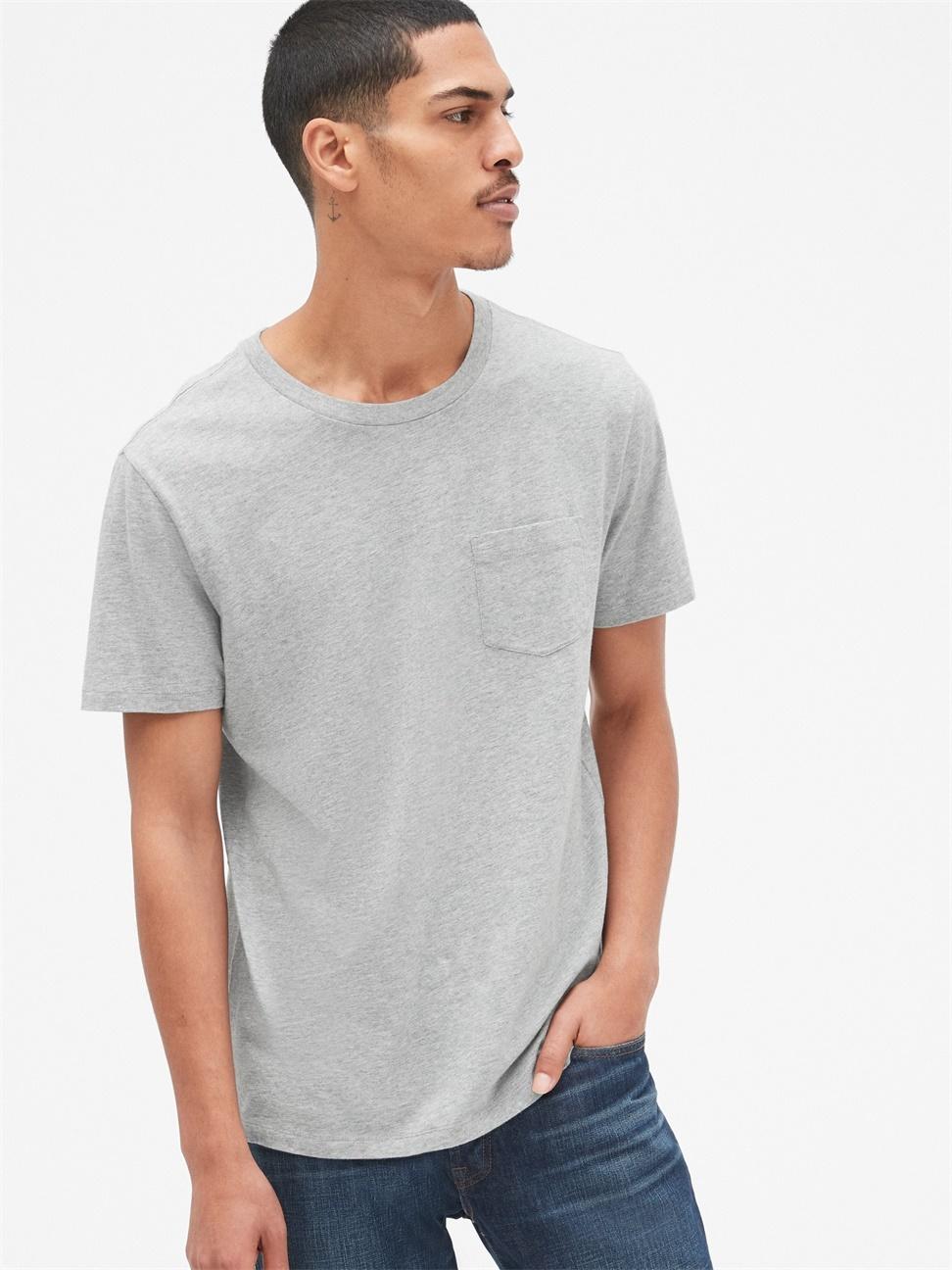 男裝 休閒直筒圓領短袖口袋T恤