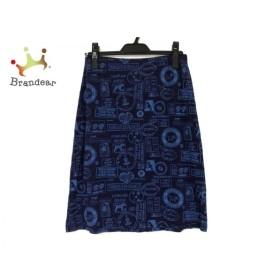 アニエスベー agnes b スカート サイズ2 M レディース 美品 ネイビー×ブルー 新着 20191001