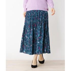ITS' DEMO(イッツデモ) サテン花柄プリーツスカート