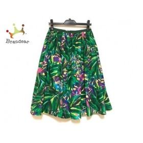 ミュベール MUVEIL ロングスカート サイズ38 M レディース 美品 グリーン×黒×マルチ 新着 20191001