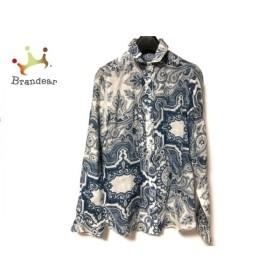 ダーマコレクション 長袖シャツブラウス サイズ9R レディース 白×ブルー×マルチ   スペシャル特価 20191230