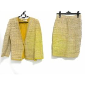 ウンガロ Ungaro スカートスーツ サイズ6 M レディース イエロー×アイボリー×マルチ ツイード【中古】