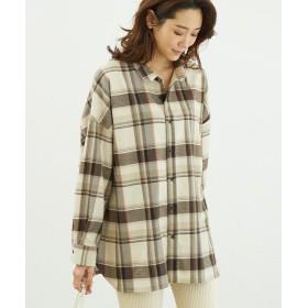 ロペピクニック 起毛チェックゆるシャツ レディース ベージュ(27) 38 【ROPE' PICNIC】