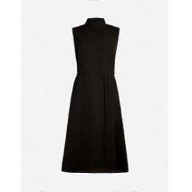 セオリー THEORY レディース ワンピース ミドル丈 ワンピース・ドレス high-neck belted crepe midi dress Black