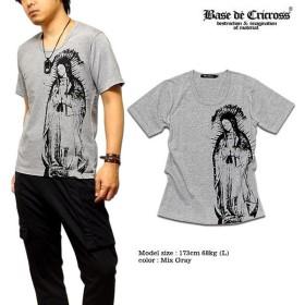 BASE De CRICROSS Tシャツ メンズ 半袖 マリア プリント 日本製 Uネック