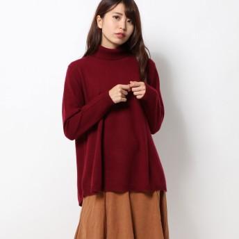 ベルーナ BELLUNA カシミヤウールリブ使いデザインセーター (ワイン)