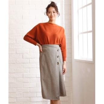2WAY ヘリンボーンツイードスカート (大きいサイズレディース)スカート, plus size skirts, 裙子