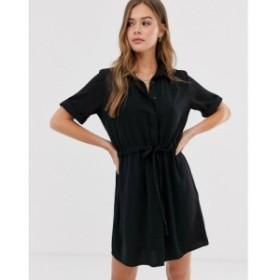 ニュールック New Look レディース ワンピース シャツワンピース ワンピース・ドレス tie waist detail shirt dress in black ブラック