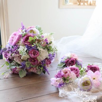 ラベンダー系グラデ 小花系クラッチブーケ ブトニア&ヘッドドレス付き 大人可愛いカラー 前撮り