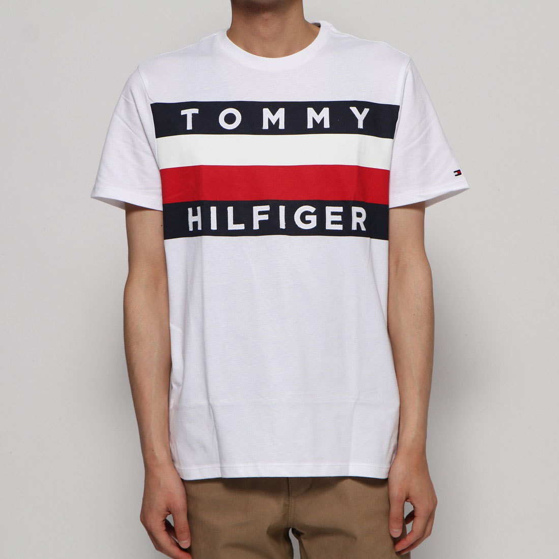 Tommy Hilfiger Shirt Mens Crew Neck Tee Cotton Stretch T-shirt Flag Logo New Nwt