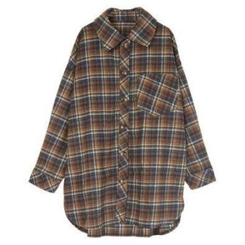 ティティベイト titivate チェックオーバーサイズシャツ/ジャケット (ブラウン)