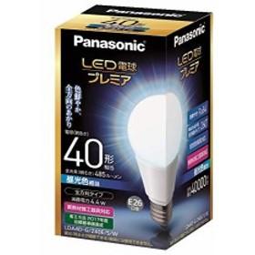 パナソニック LED電球 プレミア 口金直径26mm 電球40W形相当 昼光色相当(4.4W) 一般電球・全方向タイプ 密閉形器具対応 LDA4DGZ40ESW