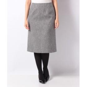 ラピーヌ ブランシュ シルク混ツィード 切り替えスカート レディース グレー 40 【LAPINE BLANCHE】