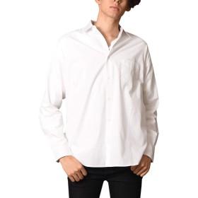 オフホワイト M (ベストマート)BestMart コットン ビッグシルエット長袖 シャツ ブロード素材 メンズ 大きいサイズ 無地 ストライプ 625195-005-206