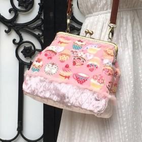 ロリータカップケーキアフタヌーンティーパーティーキャリングスラントサイドショルダースクエアゴールドバッグピンクドリームかわいいス