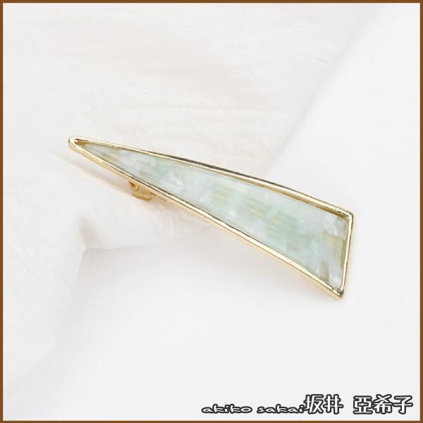 坂井.亞希子日本時尚蔚藍海洋三角造型金屬彈簧夾