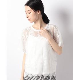 【50%OFF】 アルアバイル 総柄レースTシャツ レディース ホワイト 02 【allureville】 【セール開催中】