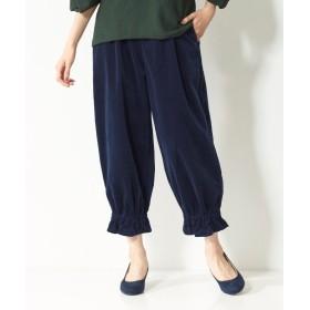 裾ギャザークロップドコーデュロイパンツ(オトナスマイル) (大きいサイズレディース)パンツ, plus size pants, 子, 子