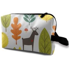 秋の森林柄 鹿柄 化粧品袋 トラベルコスメティックバッグ 防水 大容量 荷物タグ付き 旅行収納ポーチ アレンジケース パッキングオーガナイザー 出張 旅行 衣類収納袋 スーツケース整理 インナーバッグ メッシュポーチ 収納ポーチ