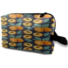アプリコットの葉のパターン 化粧バッグ 収納袋 女大容量 化粧品クラッチバッグ 収納 軽量 ウィンドジップ