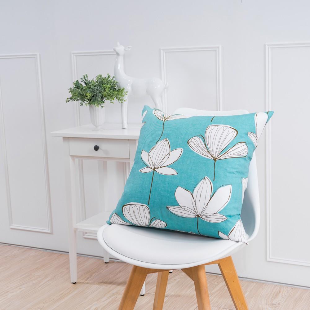 簡約系列抱枕-手繪葉脈藍(50x50cm)