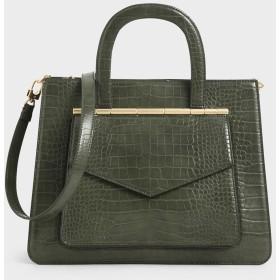 クロックエフェクトストラクチャード トートバッグ / Croc-Effect Structured Tote Bag (Olive)