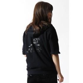 カンゴールリワード カモフラロゴ半袖ZIPパーカー ユニセックス ブラック L 【KANGOL REWARD】