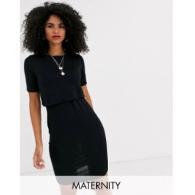 ニュールック New Look Maternity レディース ワンピース ワンピース・ドレス nursing double layer dress in black ブラック