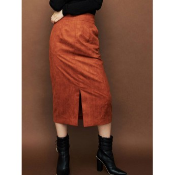 リゼクシー RESEXXY フェイクスエードロングタイトスカート (ブラウン)