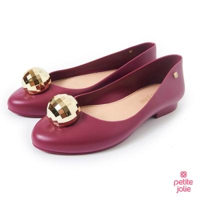 Petite Jolie--金屬球球果凍娃娃鞋-酒紅