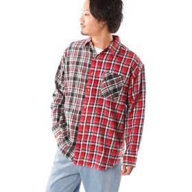 (ナイラス) NYLAUS ビッグチェックシャツ メンズ ビッグシルエット 長袖 ビエラ タータンチェック クレイジーパターン 黒 赤 青 秋 冬 ネルシャツ カジュアルシャツ トップス インナー お洒落 韓国系ファッション クレイジーレッド L