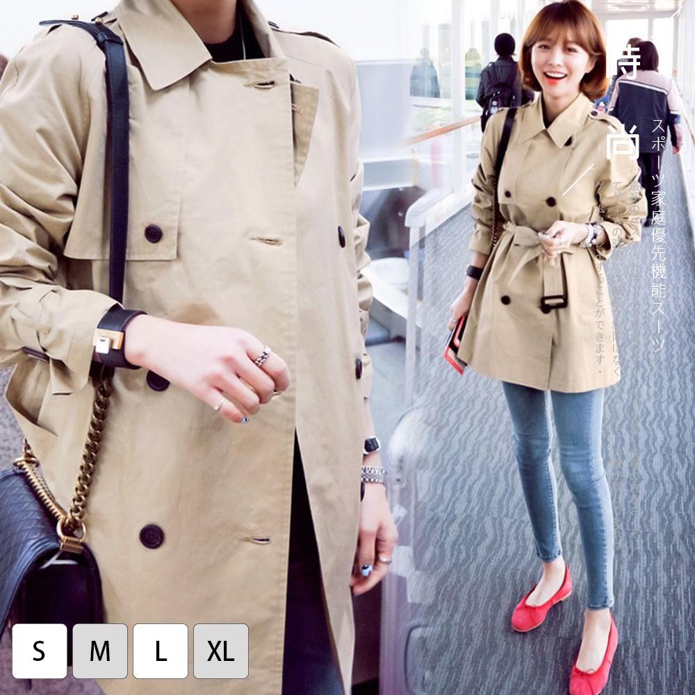 【KISSDIAMOND】德式風時尚修身收腰雙排扣都會風衣外套-KD-006