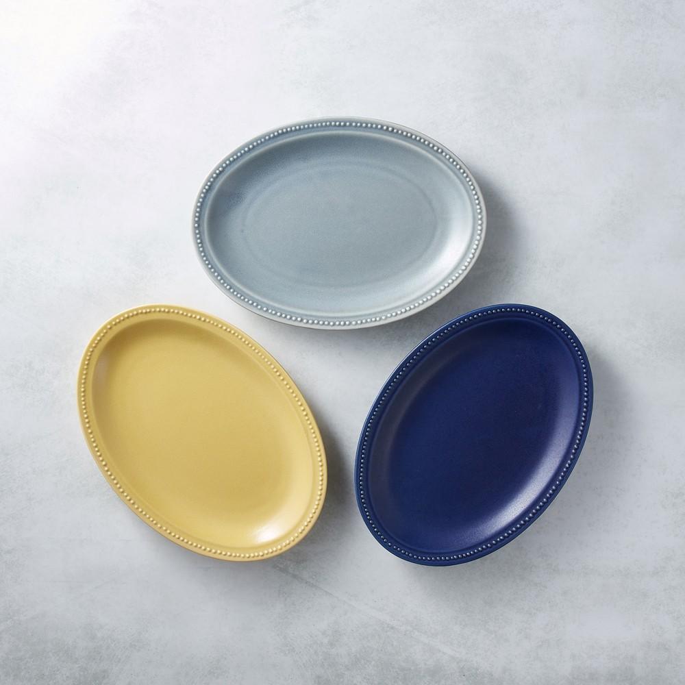 日本美濃燒 - 珍珠邊橢圓淺盤 - 雙件組(3選2)